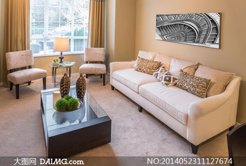 客厅沙发椅子茶几摆设摄影高清图片