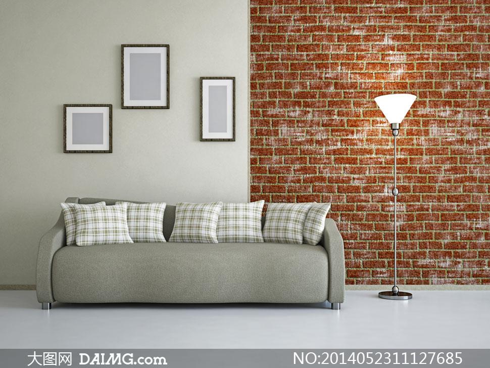 墙上的画框与沙发灯具摄影高清图片