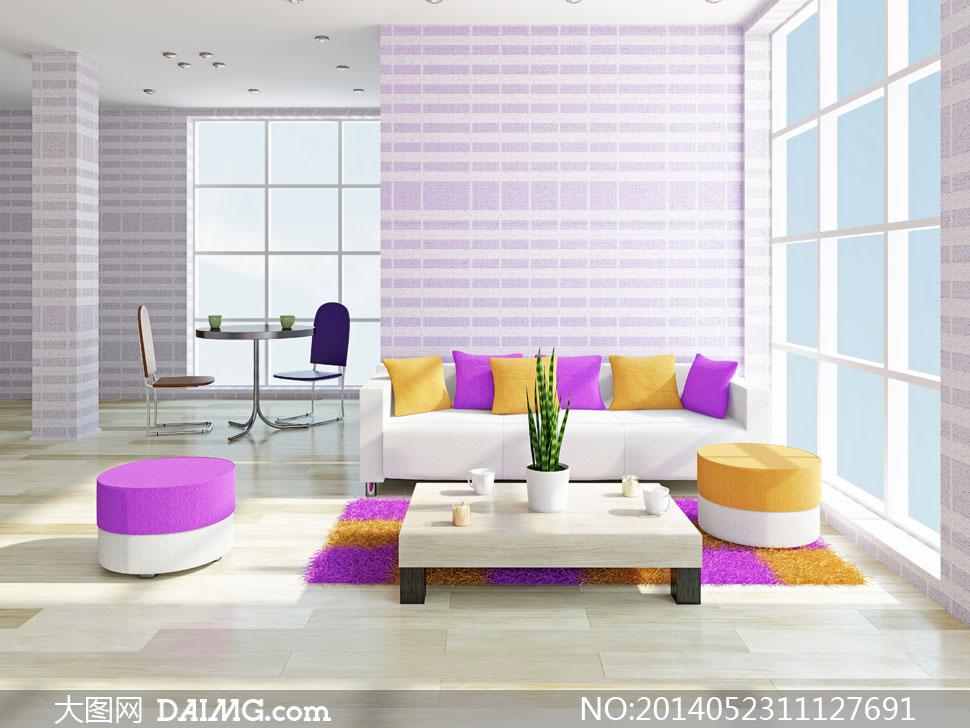 客厅里的撞色沙发布置摄影高清图片 - 大图网设计素材