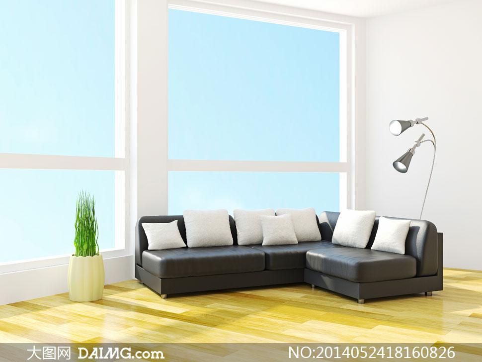 图陈设摆设陈列内景房间客厅落地灯沙发枕头抱枕植物木地板窗户蓝天