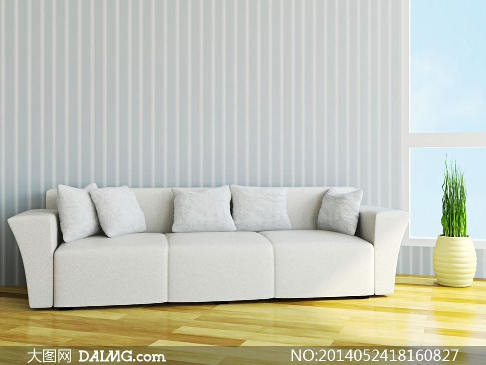 家居效果图陈设摆设陈列内景房间客厅枕头抱枕沙发植物木地板窗户白色