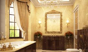 金色镜框与卫浴设施等摄影高清图片