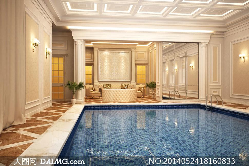 欧式豪华别墅内游泳池摄影高清图片