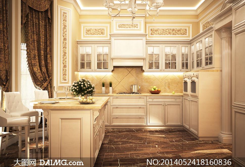 欧式风格厨房内景陈设摄影高清图片