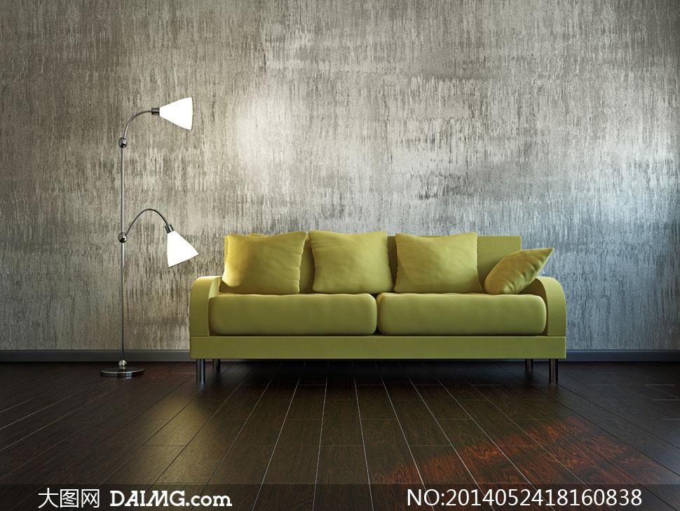 亮着的落地灯与沙发等摄影高清图片图片