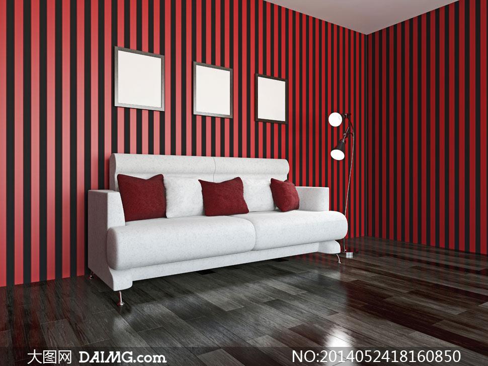 房间条纹墙纸相框画框落地灯沙发枕头抱枕木地板红色黑色白色灯光照明