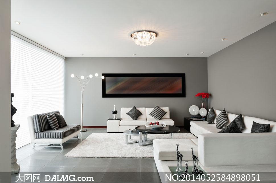 宽敞客厅沙发茶几灯具摄影高清图片 大图网素材daimg Com