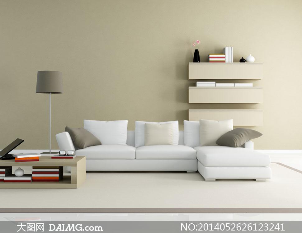 室内沙发抱枕与置物架摄影高清图片
