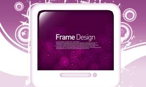 圆环元素与紫色背景等PSD分层素材