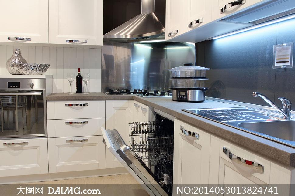 豪華高檔廚房裝修效果攝影高清圖片