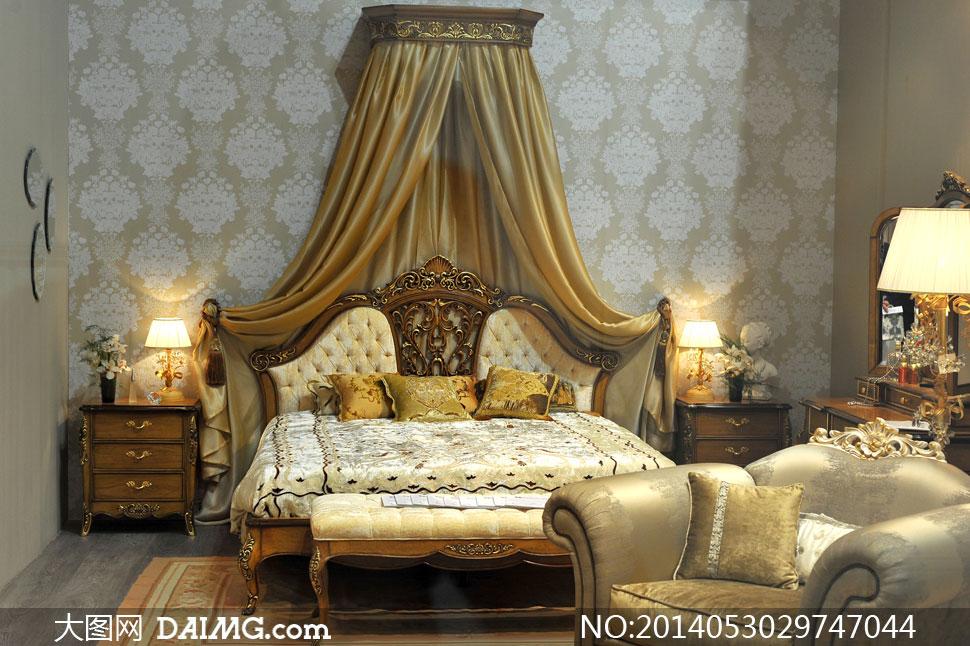 欧式风格卧室内景摆设摄影高清图片