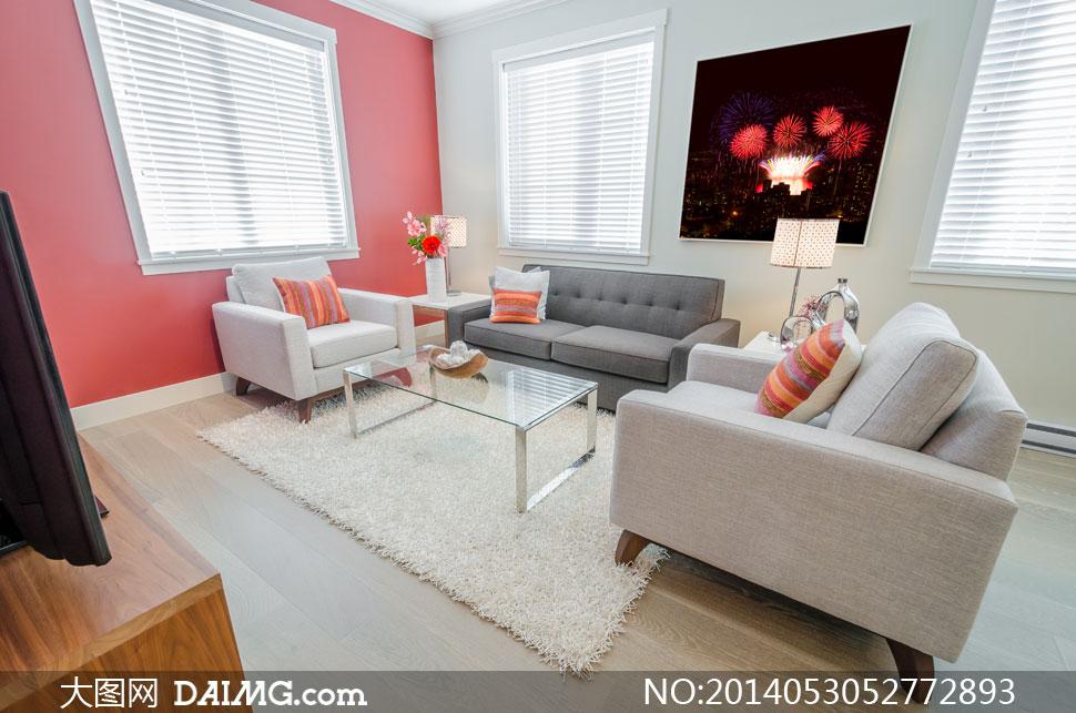 客厅百叶窗与沙发茶几摄影高清图片