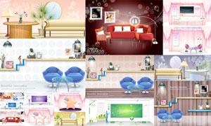时尚沙发与画框等室内装饰矢量素材