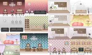 花纹墙纸与沙发等室内元素矢量素材