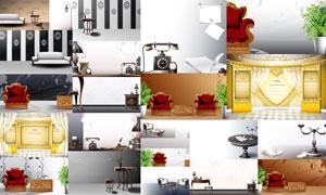 复古怀旧风格家具摆设元素矢量素材