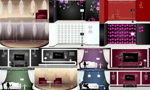 幕帘沙发与人物剪影等创意矢量素材