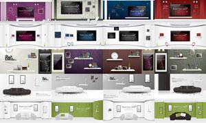 客厅电视机与置物架等装饰矢量素材