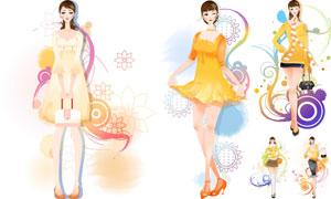 线条花纹元素等与人物插画矢量素材