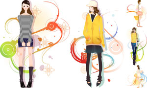 时尚美女模特插画创意设计矢量素材