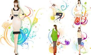 服装模特美女人物插画设计矢量素材