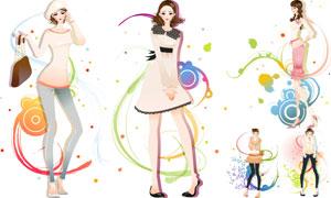 圆圈线条与美女人物插画等矢量素材