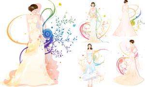 穿婚纱的美女人物插画设计矢量素材