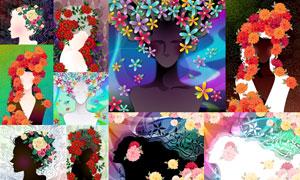 花纹花朵线条与人物等创意矢量素材