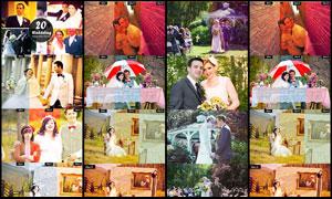 婚纱照片怀旧金黄效果调色动作