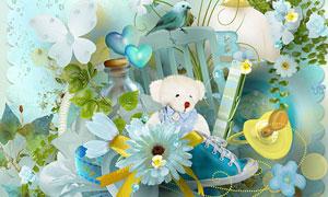 花朵缎带小熊与椅子等欧美剪贴素材