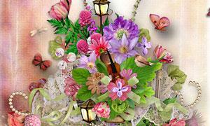花朵路灯树叶与蝴蝶等欧美剪贴素材