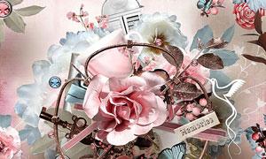 边框树叶杯子与花朵等欧美剪贴素材