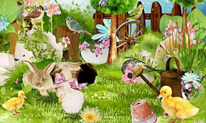 兔子小鸟蝴蝶与鸭子等欧美剪贴素材