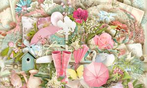 气球长椅缎带与花朵等欧美剪贴素材
