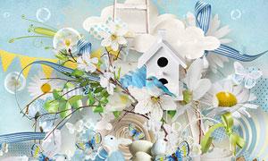 兔子心形纸花与小鸟等欧美剪贴素材