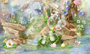 书本草丛蝴蝶与花朵等欧美剪贴素材
