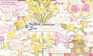 边框缎带花朵与数字等欧美剪贴素材