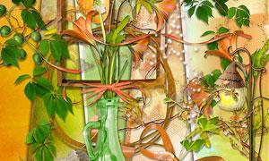 气球瓶子藤蔓与植物等欧美剪贴素材