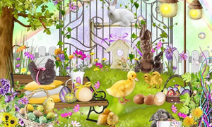 兔子小鸡小鸟与山羊等欧美剪贴素材