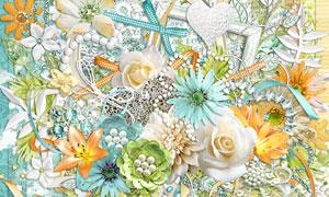 花朵缎带边框与花纹等欧美剪贴素材