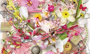 花朵纽扣缎带与蝴蝶等欧美剪贴素材