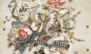 缎带花朵纸花与边框等欧美剪贴素材