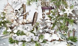 缎带小鸟雪人与蝴蝶等欧美剪贴素材