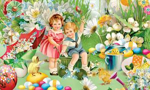 小鸡苹果花朵与缎带等欧美剪贴素材