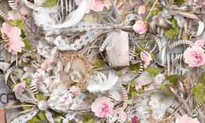 鲜花蝴蝶茶壶与篮子等欧美剪贴素材
