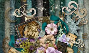 布花相框树叶与缎带等欧美剪贴素材