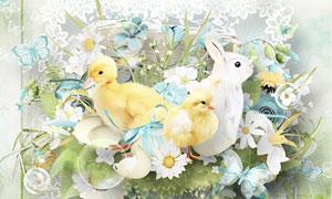 缎带纸花蛋壳与鸭子等欧美剪贴素材