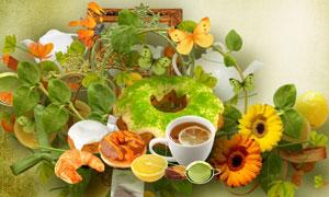 蝴蝶纽扣花朵与相框等欧美剪贴素材