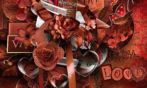 树叶相框花朵与蝴蝶等欧美剪贴素材