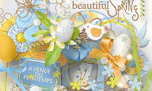 纸花边框藤蔓与蝴蝶等欧美剪贴素材