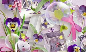 画笔花朵缎带与篱笆等欧美剪贴素材